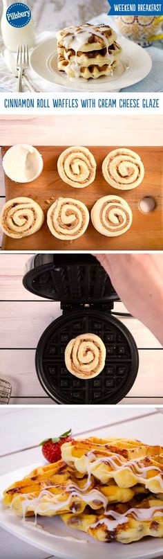 Weekend breakfast will never be the same! Cinnamon rolls made into waffles and topped with a cream cheese glaze almost sound too good to be true. These Cinnamon Roll Waffles are super easy to make in your waffle iron and only require 4 ingredients. Brunch and breakfast just got so much more delicious!
