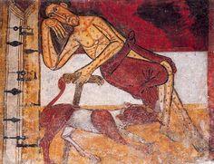 Lázaro el Leproso - Ábside de Sant Climent de Taüll Maestro de Taüll, hacia 1123  Leer más: http://52mnac.tumblr.com/post/102173007832/los-perros-del-mnac   #MNAC #Historia del Arte #Perros #Mascotas #Arte #Pintura #Románico #Modernismo #Gótico