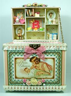 The practically perfect interior of Andrew Roberts' altered Little Darlings keepsake chest. #graphic45