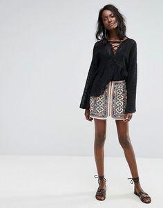 Majorelle Embroidered Port Skirt - Multi