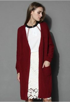 Simple Knitted Long Cardigan in Wine