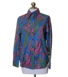 Jones New York Signature Blue Violet Green Paisley Button Shirt Size M #JonesNewYork #ButtonDownShirt #Casual