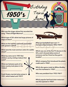1950's Birthday Trivia Game-| Birthday Party Trivia 50's, 60's, 70's | Instant Download by 31Flavorsofdesign on Etsy