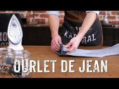 Astuce couture : Comment raccourcir son jean en gardant l'ourlet original - YouTube