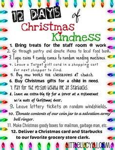 The 12 Days of Christmas Kindness ... hoping your family will join in and celebrate the true spirit of the season!