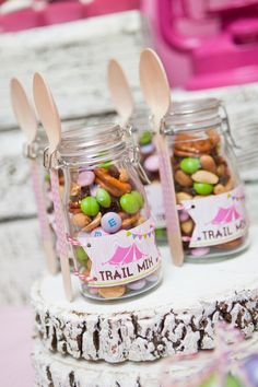 emily maynard glam camping birthday party trail mix. Cute way to serve tail mix and lots of cute ideas for a girls camping themed party.
