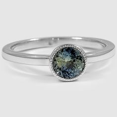 18K White Gold Sapphire Sierra Ring // Set with a 5.5mm Round Green Sapphire (From Unique Colored Gemstone Gallery)