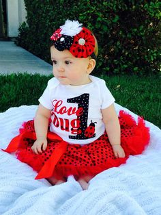 Love Bug Ladybug First Birthday Onesie only by JealousJune on Etsy 1st Birthday Outfits, Baby First Birthday, Birthday Photos, Birthday Bash, First Birthday Parties, Girl Birthday, Birthday Ideas, Ladybug 1st Birthdays, First Birthdays