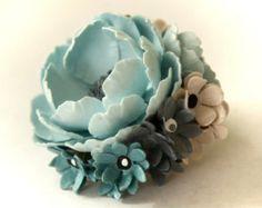 Sweet Little Bon Bon La Fleur Pin Paper Flower Brooch Sprin Summer Jewelry in Soft Blues