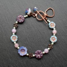 Flower Bracelet Pastel Colours Czech Glass