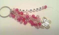 Pretty personalised pink beads bag charm with butterfly - The Supermums Craft Fair