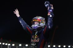 Singapore Grand Prix - Sunday 22 Sept.2013 .  Sebastian Vettel celebrates after winning the race.