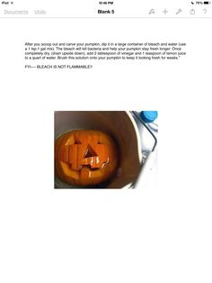 How to keep a carved Pumpkin Fresh for Weeks