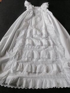 b91baf256 Vintage Victorian Christening Gown English with Lace and Embroidery