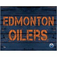 Edmonton Oilers 11'' x 14'' Rustic Option Wall Décor - Navy Blue
