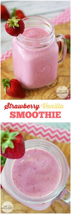 Strawberry Vanilla Smoothie recipe - Thick, creamy and healthy! You may be surprised by the ingredients.