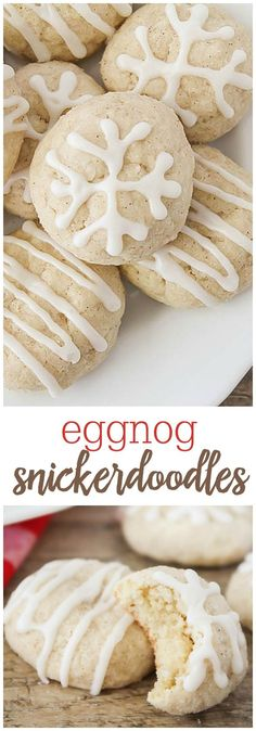 Eggnog Snickerdoodles - made with eggnog and a splash of rum extract in the doug. - Eggnog Snickerdoodles – made with eggnog and a splash of rum extract in the dough, then rolled in - Eggnog Cookies, Cinnamon Cookies, Holiday Cookies, Cookies Et Biscuits, Baking Cookies, Sugar Cookies, Christmas Cooking, Christmas Desserts, Christmas Treats