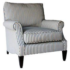 Bentley Club Chair, Blue/Oyster