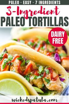 Paleo Tortillas Recipe With Tapioca Flour & Coconut Flour-A paleo tortilla recipe with just 3 INGREDIENTS! You won't believe how flexible and soft these paleo tortillas with coconut flour and tapioca flour are. Easy Paleo Dinner Recipes, Best Paleo Recipes, High Protein Vegetarian Recipes, Appetizer Recipes, Bread Recipes, Diet Recipes, Favorite Recipes, Tapioca Flour Recipes, Paleo Tortillas