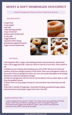 Homemade Doughnut Recipe, Baked Donut Recipes, Easy Baking Recipes, Donuts Recipe No Yeast, Baked Donuts, Homemade Breads, Doughnuts, Delicious Donuts, Yummy Food