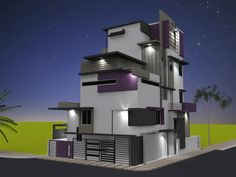 Rnganath's Residence - Evening view of Front Elevation for Independent Bungalow by Ashwin Architects in Bangalore.    Call (+91)-(80)-26612520 for more information or visit http://www.ashwinarchitects.com