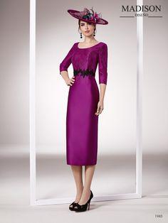 ebb22f6ad vestido midi con manga larga color morado Trajes De Boda