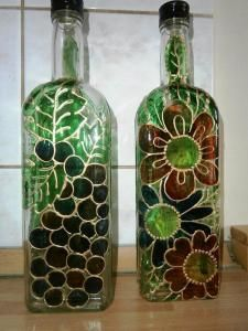 Maľovanie na sklo - Bottle, Home Decor, Art, Scrappy Quilts, Compost, Art Background, Flask, Kunst, Interior Design