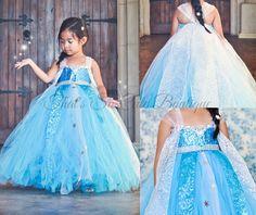 Queen Elsa Tutu Dress Costume-frozen, blue, turquoise, tutu dress, costume, halloween, snowflake, Elsa, Ana, queen, snow