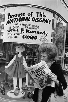 Newspaper announces death of JFK. Nov. 23, 1963.