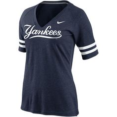 Women's Nike Navy New York Yankees Replica V-Neck T-Shirt ($35) ❤ liked on Polyvore featuring tops, t-shirts, navy, v neck t shirts, navy blue tee, vneck tops, nike tops and navy blue t shirt