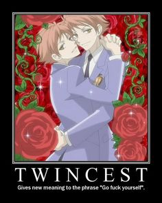 "ouran high school funny | Anime Motivational Poster - Ouran High School Host Club - ""Twincest ..."