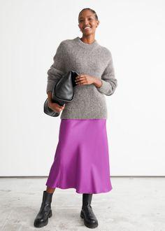 Satin Midi Skirt - Purple - Midi skirts - & Other Stories GB