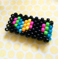 Kandi Cuff Rave Accessory Rainbow Hearts by TheSwankyRaver on Etsy Pony Bead Jewelry, Pony Beads, Beaded Jewelry, Rave Bracelets, Rave Accessories, Kandi Cuff, Rainbow Heart, Nye, Easy Crafts