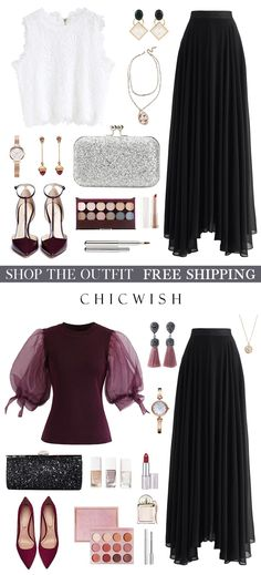 Timeless Favorite Chiffon Maxi Skirt in Black Chiffon Maxi, Chiffon Fabric, Classy Outfits, Chic Outfits, Fashion Outfits, Maxi Skirt Outfits, Lace Crop Tops, Elegant Outfit, Modest Fashion