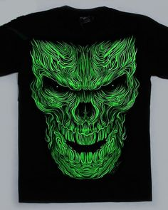 72819be9a243 glow in the dark 3D skull t shirt for men