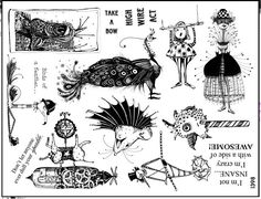 Art stamp plate  Rubber stamps  Steampunk animals elephant dolls gears wheels  Rubber Stamp  tateam EUC team  1398. $21,95, via Etsy.