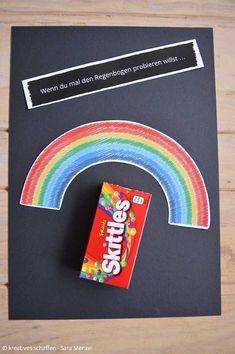 Wenn-Buch in schwarz - Wenn-Buch in schwarz Wenn du mal den Regenbogen probieren willst … Skittles Wenn Buch Backyard For Kids, Diy For Kids, Crafts For Kids, Happy Birthday Cards, Diy Birthday, Skittles Gift, Fun Crafts, Diy And Crafts, Twig Crafts