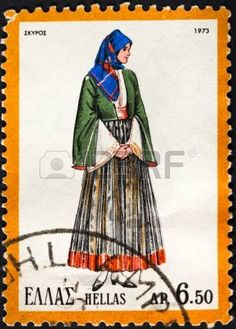 Picture of GREECE - CIRCA A postage stamp printed in the Greece shows woman in Greek national folk dress, circa 1973 stock photo, images and stock photography. Greek Traditional Dress, Greece Pictures, Greek Culture, Stamp Printing, Folk Dance, Folk Costume, Stamp Collecting, Ancient Greece, My Stamp