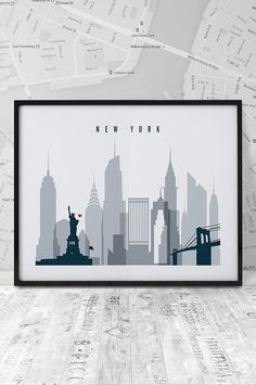 New York Print Printable Poster Wall Art Travel by ArtFilesVicky