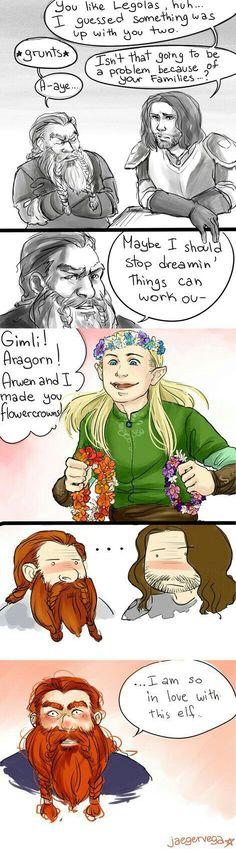 Insert Funny Caption Here, Legolas and Gimli by FlukeOfFate on DeviantArt Legolas And Thranduil, Aragorn, Tolkien Books, Jrr Tolkien, Bagginshield, O Hobbit, Sherlock, Middle Earth, Lord Of The Rings