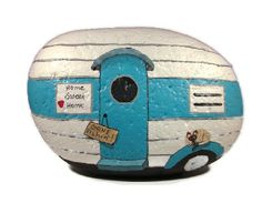 Travel Trailer RV handpainted rock unique gift by RocksOK on Etsy, $25.00