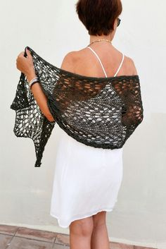 Wool wrap wedding wrap knit wool shawl khaki trends by EstherTg