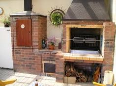 Image result for pergola s krbem Bbq Kitchen, Pergola, Smokers, Decks, Fire, Image, Home Decor, Lawn And Garden, Decoration Home