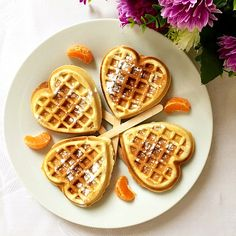 Heart-shaped cinnamon waffles recipe, a declious treat for breakfast or brunch. Fluffy, cinammony, and super easy to make.