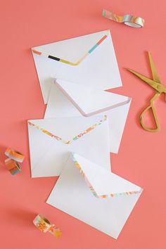 DIY Washi Tape Lined Envelopes