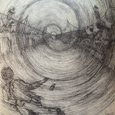 """""""When a ship went by or backed out from the docks opposite and swung around to steam toward the open sea, there was a dead silence in the ward and a strange foreboding as though all hope were sailing with the tide."""" #Illustration by J. F. Ulysse for Malcolm Lowry's story """"Lunar Caustic"""" in issue 29."""