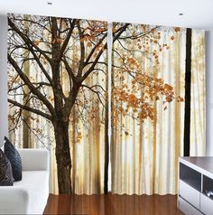 Set Of Two Autumn Harvest Trees Window Panels Leaves Foggy Forest Home Decor #Unbranded