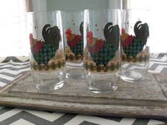 Rooster Drinking Glasses  Set of 4 by UniquelyMollie on Etsy