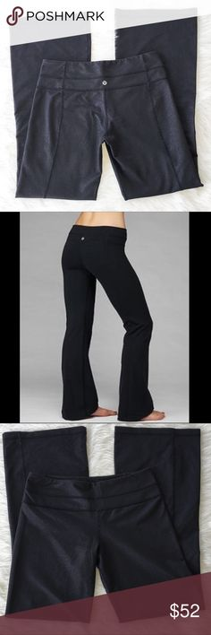 Lululemon Groove Pants Lululemon Groove pants. Size 8. EUC. These might not have even been worn once! They are in perfect condition. No fabric pilling, no worn bottoms, with tag. They are a black but there is white three woven in. 31' inseam and flare is 10'. lululemon athletica Pants