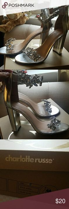Thick Heel shoes Silver rhinestone heels used maybe for an hour Charlotte Russe Shoes Sandals